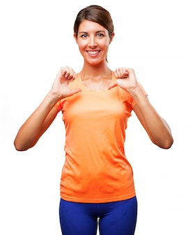 Healthy woman pointing at herself