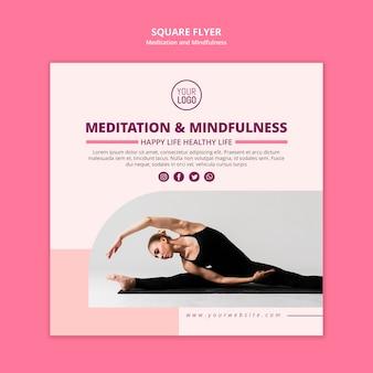 Volantino quadrato di vita sana di yoga e meditazione