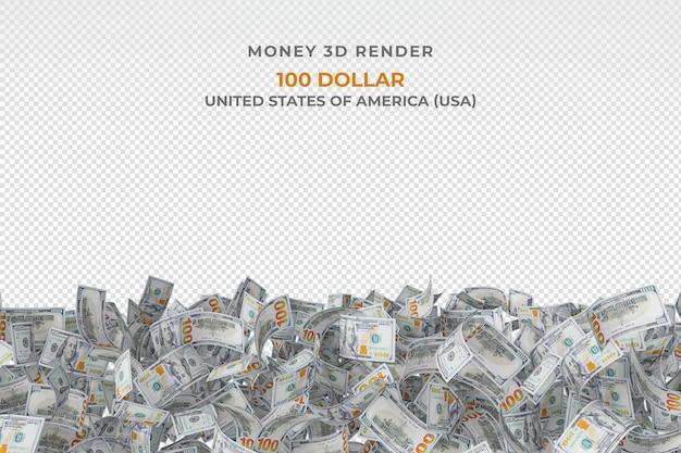 고립 된 100 달러 지폐의 힙