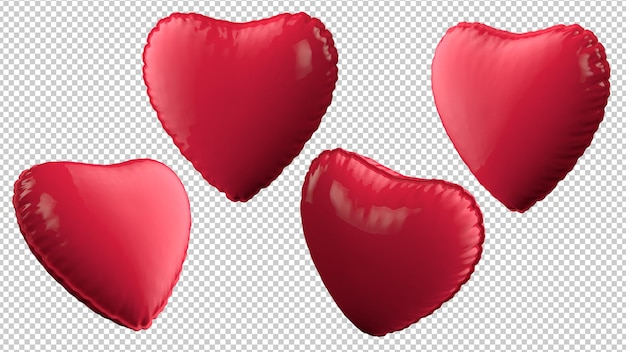 Heart balloons at different angles isolated