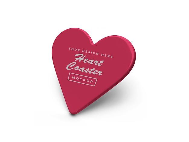 Heart coaster mockup design isolated