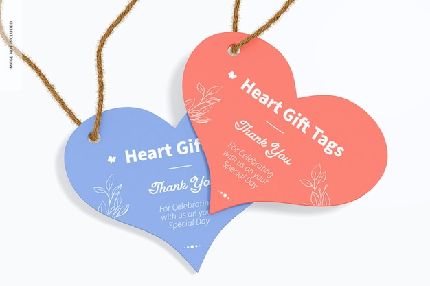 Heart gift tags mockup, close up