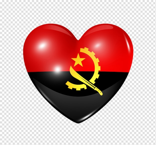Heart icon with flag of angola