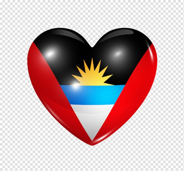 Heart icon with flag of antigua and barbuda