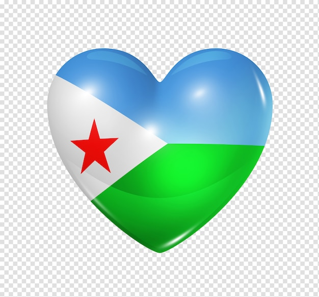 Heart icon with flag of djibouti