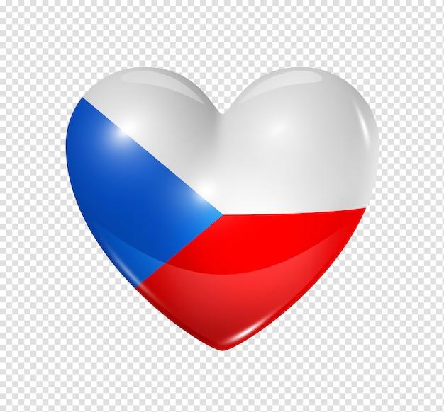 Сердце значок с флагом чешской республики