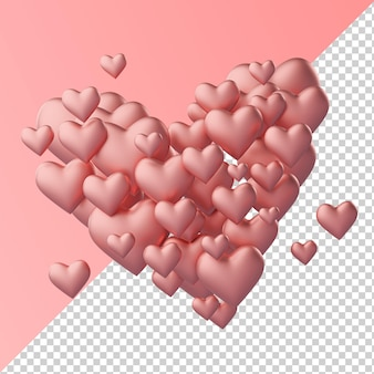 Heart made of hearts love shape isolated transparent 3d rendering
