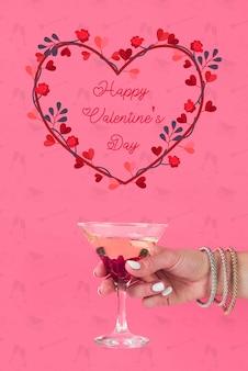 バレンタインの日の花で作られた心
