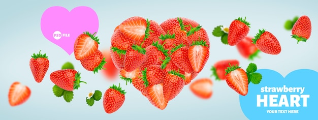 Heart made of strawberries banner