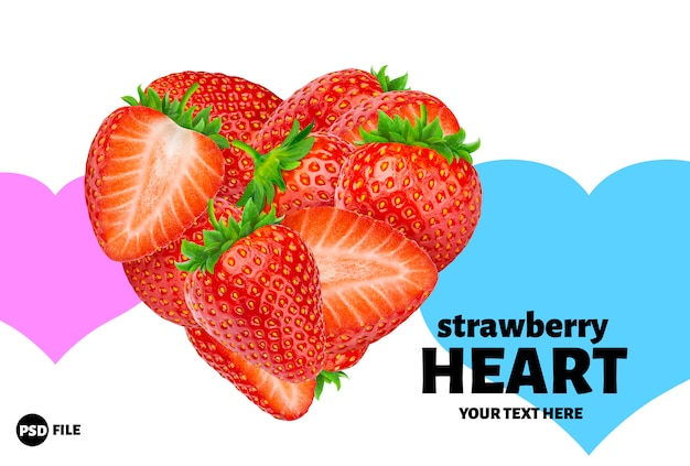 Heart made of strawberries isolated on white background