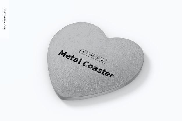 Mockup di sottobicchieri in metallo a forma di cuore