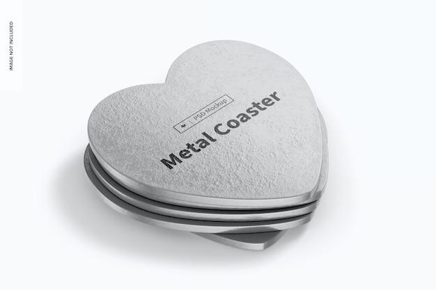 Mockup di sottobicchieri in metallo a forma di cuore, set impilato