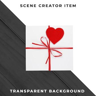 선물 상자에 마음입니다. 발렌타인 데이. 클리핑 패스와 함께 격리.