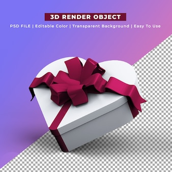 Heart shape gift box 3d render