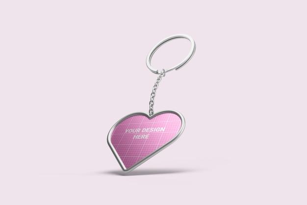 Heart shape keychain mockup