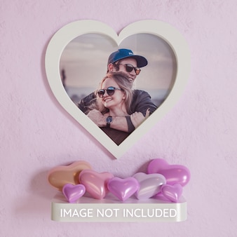 Heart shape white frame photo mockup on wall