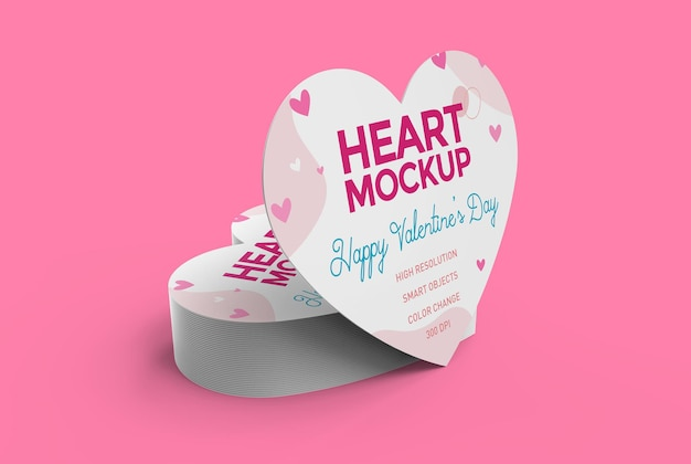 Heart shaped business card mockup for valentine's day.