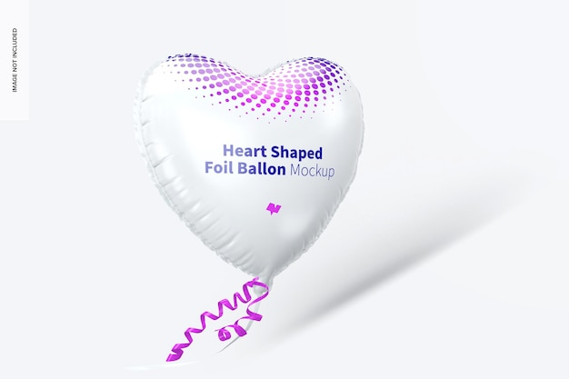 Мокап воздушного шара из фольги в форме сердца