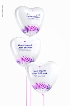 Heart-shaped latex balloons mockup, floating
