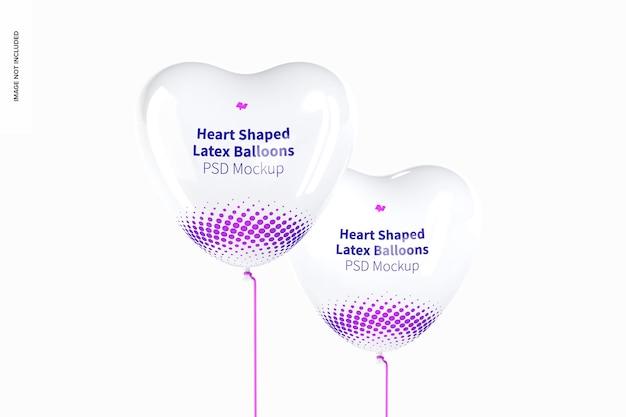 Мокап латексных шаров в форме сердца
