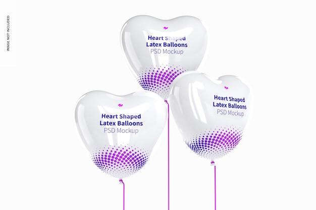 Мокап набора латексных шаров в форме сердца, вид спереди