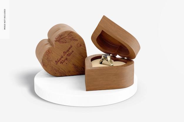 Мокап коробки для колец в форме сердца