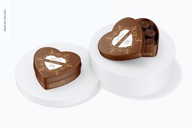 Mockup di scatola di latta a forma di cuore, aperta e chiusa