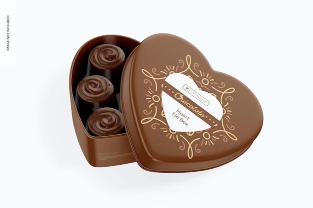 Мокап оловянной коробки в форме сердца, открытый