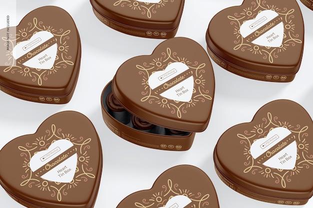 Мокап жестяных коробок в форме сердца