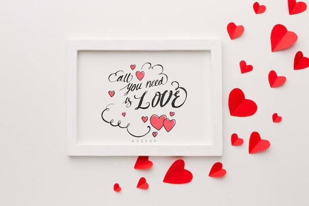 Heart shapes and frame arrangement