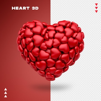 Hearts 3d rendering isolated