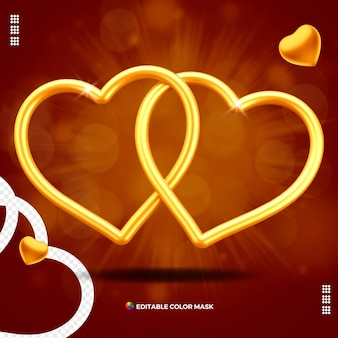 Hearts united valentine's day isolated for composition Premium Psd