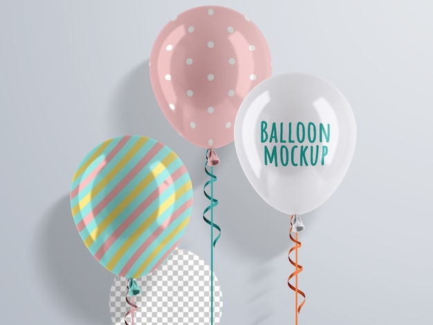 Helium balloons mockup with ribbon