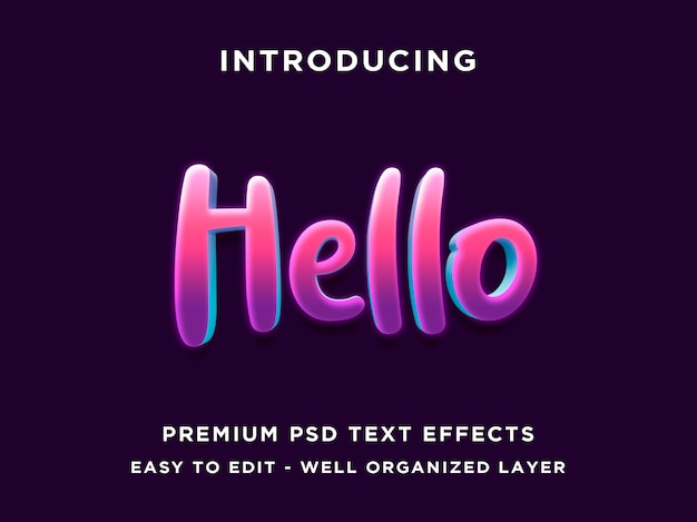 Hello 3d purple editable text effect style
