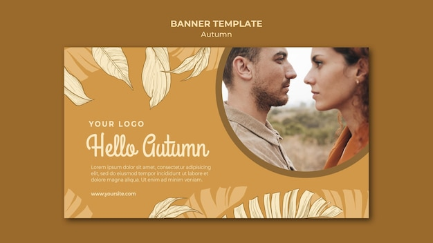 Hello autumn and couple banner web template