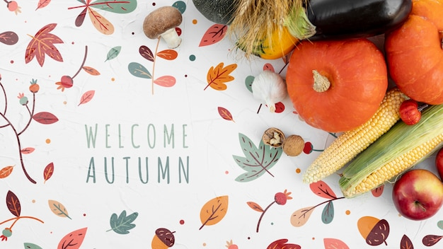 Hello autumn greeting text with veggies