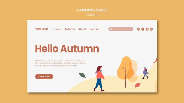 Hello autumn landing page template