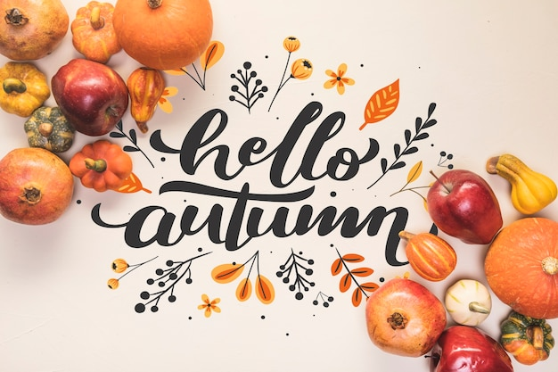 Hello autumn lettering with fall healthy food
