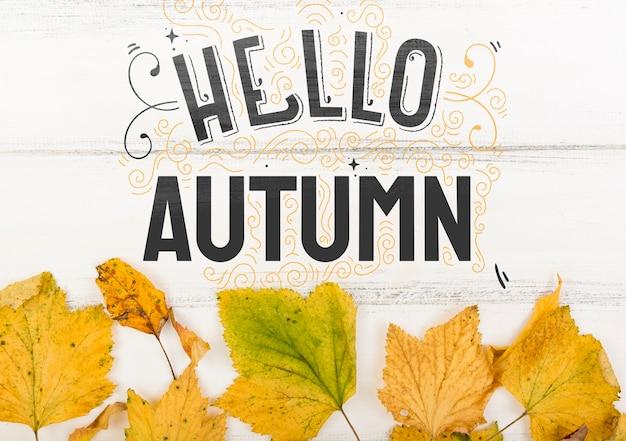 새 시즌의 안녕하세요 가을 메시지