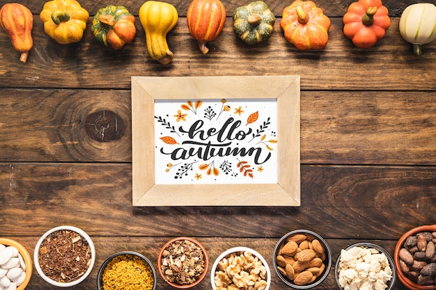 Hello autumn quote mock-up with frame of dried vegetables