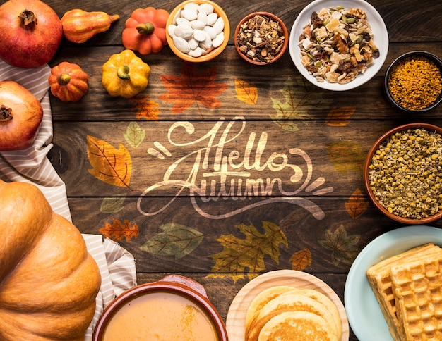 Hello autumn quote surrounded by delicious fall food