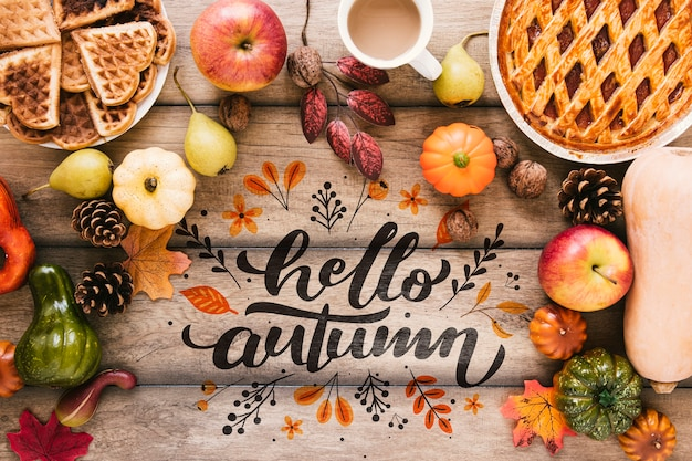 Hello autumn quote surrounded by delicious food