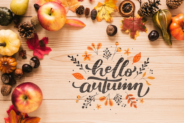 Hello autumn quote with leaves and apples