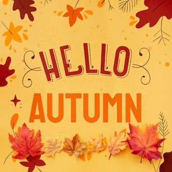 Hello autumn text with dried leaves