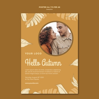Hello autumn with cute couple poster print template