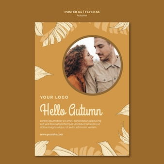 Hello autumn with young couple flyer print template