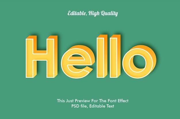 Hello font effect mockup