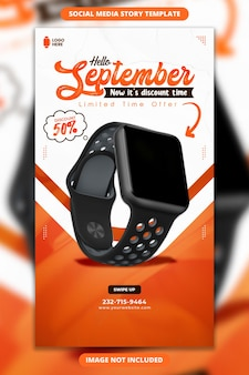 Hello september sale facebook and instagram story template