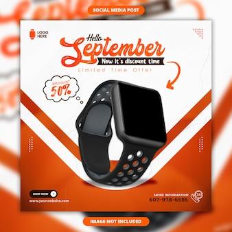 Hello september sale social media banner and instagram post design