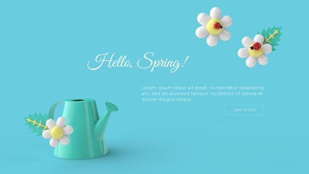 Здравствуйте, весенний фон с образцом текстового шаблона. 3d рендеринг